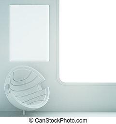 intérieur, fauteuil, blanc