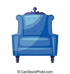 intérieur, fauteuil, bleu, vecteur, conception, confortable, classique, maison, fond, illustration, blanc