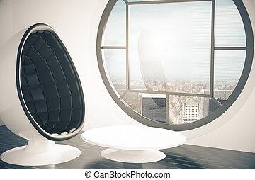 intérieur, fauteuil, futuriste