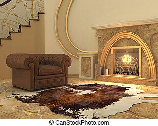 intérieur, fauteuil, moderne, cheminée, abattre
