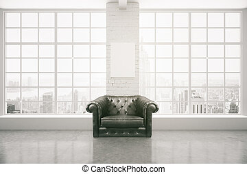 intérieur, fauteuil, noir