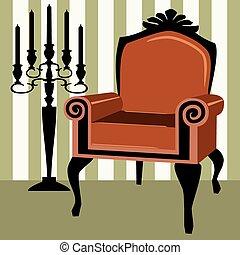 intérieur, fauteuil, scène