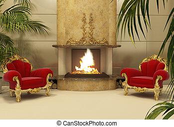 intérieur, fauteuils, baroque, royal, cheminée