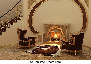 intérieur, fauteuils, moderne, cheminée
