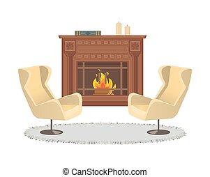 intérieur, fauteuils, vase, décoration, cheminée