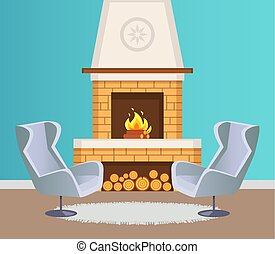 intérieur, fauteuils, vecteur, cheminée, plat