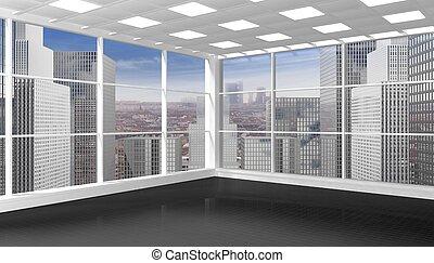 intérieur, fenêtre, office/apartment, cityscape, vide, vue