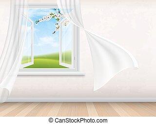 intérieur, fenêtre, ouvert, salle, vide