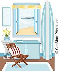 intérieur, fenêtre, plage, cabine, vue