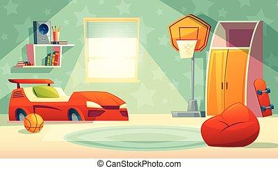 intérieur, fenêtre, vecteur, enfants, chambre à coucher