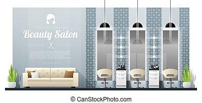 Intérieur, Fond, De, Moderne, Salon Beauté, 4
