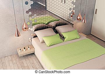 intérieur, futuriste, chambre à coucher