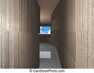 intérieur, futuriste, couloir