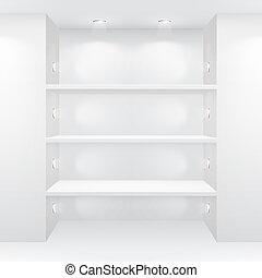 intérieur, galerie, vide, étagères