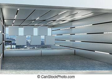 intérieur, garage, futuriste