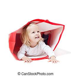 intérieur, girl, paquet