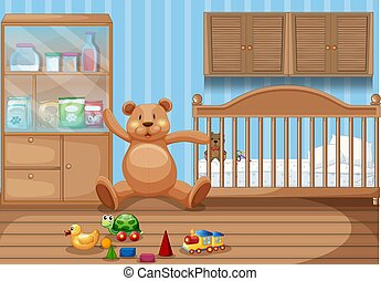 intérieur, gosses, chambre à coucher, jouets