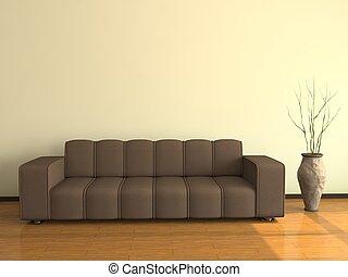 intérieur, grand, sofa