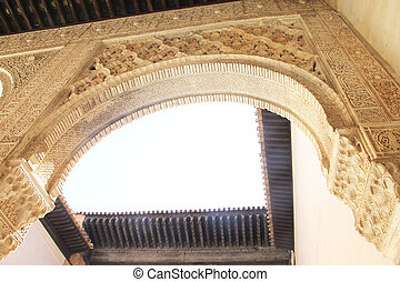 intérieur, grenade, palais, alhambra, espagne