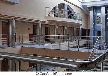 intérieur, hôtel, moderne, couloir