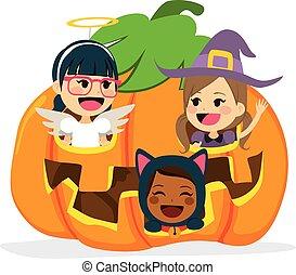 intérieur, halloween, enfants, citrouille