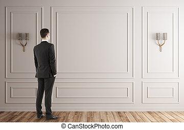 intérieur, homme affaires, blanc