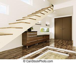 intérieur, hypnotisez couloir, render, 3d
