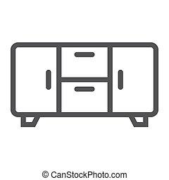 intérieur, icône, ligne, buffet, meubles