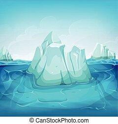 intérieur, iceberg, paysage, océan
