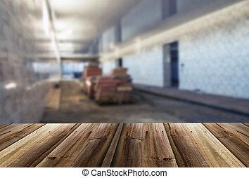 intérieur, image, entrepôt, unfocused, brouillé