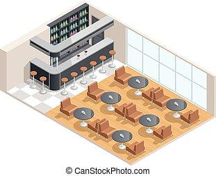 intérieur, isométrique, café, illustration