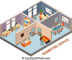 intérieur, isométrique, composition, bureau