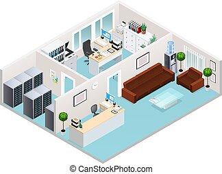 intérieur, isométrique, conception, bureau