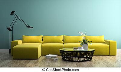 intérieur, jaune, 3, partie, 3d, rendre, sofa, moderne