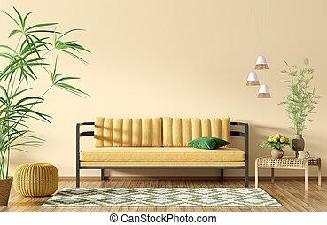 intérieur, jaune, 3d, vivant, rendre, salle, sofa, moderne
