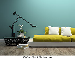 intérieur, jaune, partie, 3d, rendre, sofa, moderne, 2