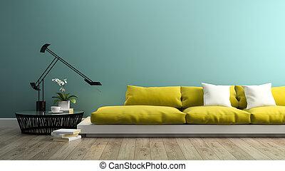 intérieur, jaune, partie, 3d, rendre, sofa, moderne
