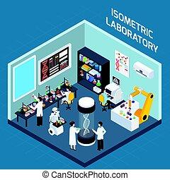 intérieur, laboratoire, isométrique, conception