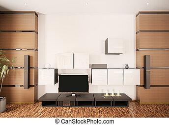 intérieur, lcd, moderne, render, 3d