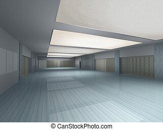 intérieur, long, vide, salle