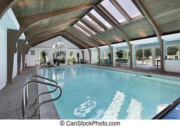 intérieur, lucarnes, piscine, natation
