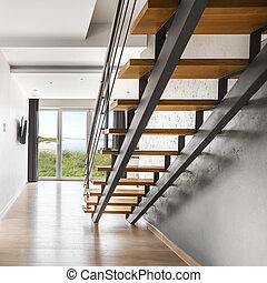 intérieur, lumière, villa, escalier