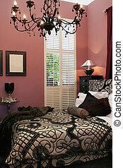 intérieur, luxe, lit, salle