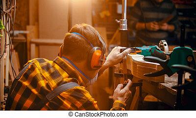 intérieur, machine, charpenterie, menuisier, polissage, détail, monture, -