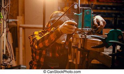 intérieur, machine, charpenterie, menuisier, polissage, homme, détail, monture, -
