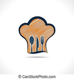 intérieur, main, chef cuistot, dessiné, fourchettes, chapeau