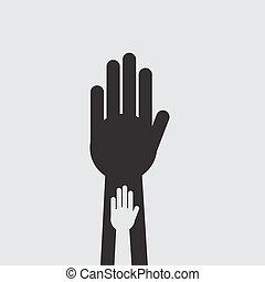 intérieur, main, silhouette