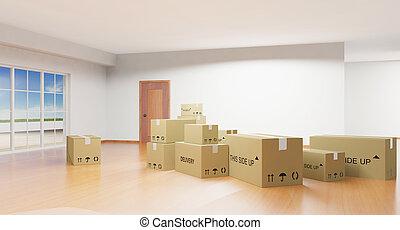 intérieur maison, à, boîtes carton