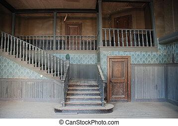 intérieur, maison, américain, vieux, abandonnés
