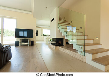 intérieur, maison, clair, moderne